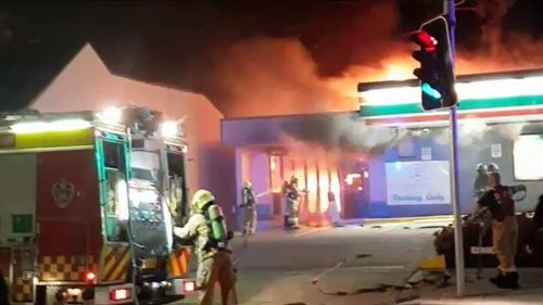 A laundromat and petrol station in Randwick, in Sydney's east, sparked explosion concerns overnight as a fire broke out. Picture: 9NEWS.