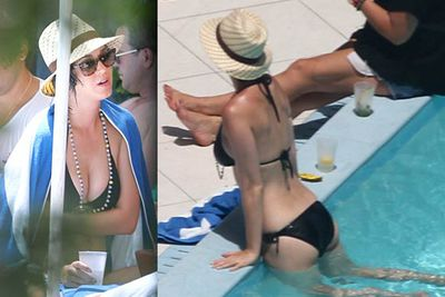 Katy Perry relaxed poolside with her sister and grandmother at a snazzy hotel in Miami.