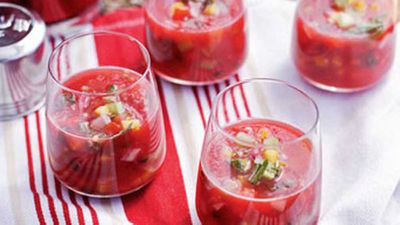"We bet you've never had chilled soup like this gorgeous crimson <a href=""http://kitchen.nine.com.au/2016/05/19/13/09/watermelon-gazpacho"" target=""_top"">watermelon gazpacho</a>."