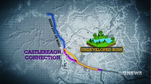 The Outer Sydney Orbital will not go ahead as first planned and the Castlereagh Connection will revert back to using undeveloped bushland. Picture: 9NEWS.