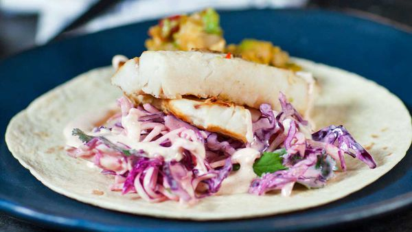 Hoki fish with coleslaw