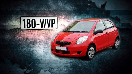 The stolen vehicle is described as a red 2006 Toyota Yaris with Queensland registration 180-WVP.