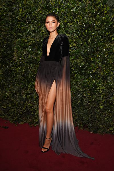 Zendaya in Elie Saab at the London Evening Standard Theatre Awards.