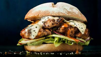 "<a href=""http://kitchen.nine.com.au/2016/11/25/12/28/spicy-buffalo-chicken-and-blue-cheese-burger"" target=""_top"">Spicy buffalo chicken and blue cheese burger</a><br /> <br /> <a href=""http://kitchen.nine.com.au/2016/11/25/12/38/burger-recipes-that-give-beef-the-boot"" target=""_top"">More burger recipes that aren't beef</a>"