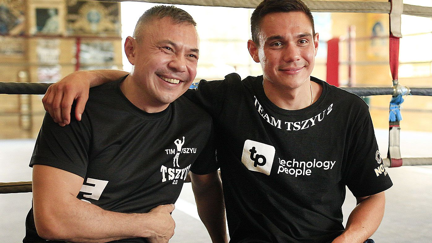 Kostya Tszyu with son Tim Tszyu at Tszyu Boxing Academy