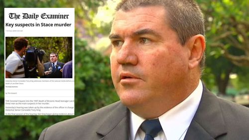 Detective Tony King outside the 2009 inquest into Lee Ellen Stace's murder and insert a screen shot of a Daily Examiner article on 'key suspects' in her case.