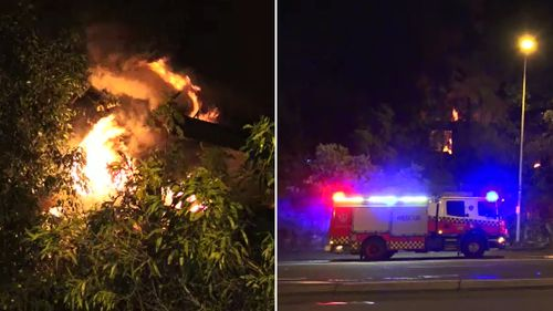 Firefighters at the disused North Parramatta school. (9NEWS)