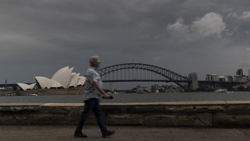 Storm clouds build over the Sydney CBD on October 24, 2020 in Sydney, Australia. The Bureau of Meteorology has warned of severe thunderstomrs with NRL Grand Final fans expected to cop a drenching in tonight's game.
