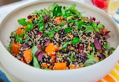 """Recipe:<a href=""""/recipes/irice/8983654/black-rice-salad-with-heirloom-carrots-and-butternut-pumpkin"""" target=""""_top"""" draggable=""""false"""">Black rice salad</a>"""