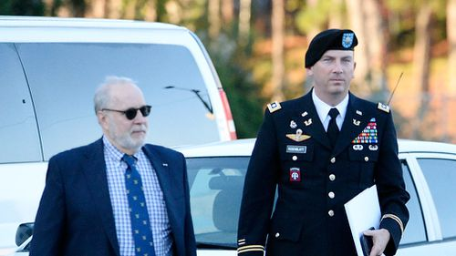 Attorneys for Bowe Bergdahl, Eugene R. Fidell and Army Lt. Col. Franklin D. Rosenblatt (right), arrive the Ft. Bragg military courthouse. (Getty)