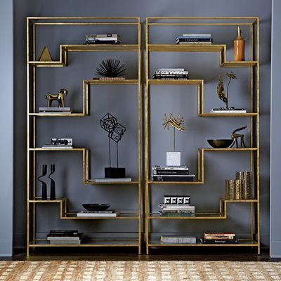 Brass geometric bookcase $1,748.99, Dwell Studio