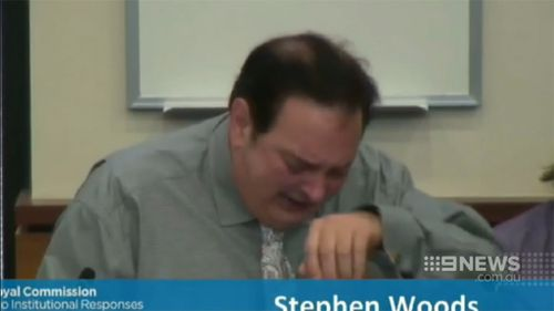 Stephen Woods broke down as he recounted the abuse he suffered. (9NEWS)