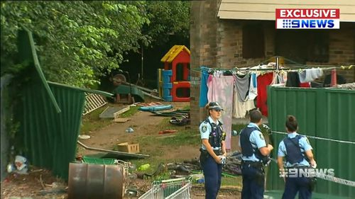 The Constitution backyard was slammed into by Chandler who was on the run from police over three robberies. Picture: 9NEWS