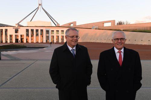 Prime Minister Malcolm Turnbull and Treasurer Scott Morrison outside Parliament House this morning. (AAP)