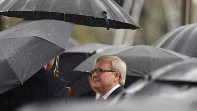 Former Prime Minister Kevin Rudd was also in attendance at the Australian War Memorial. (AAP)