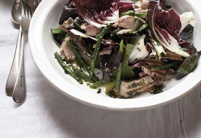 Warm radicchio and tuna salad