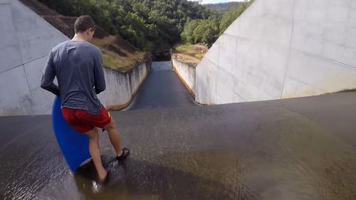 Using the slipway could potentially have fatal results. (YouTube/Rowan Le Sueur)