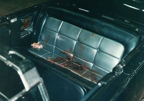 The interior of the Presidential limousine after the Kennedy assassination. Included as an exhibit for the Warren Commission. Ca. November, 1963. (Photo: CORBIS via Getty)