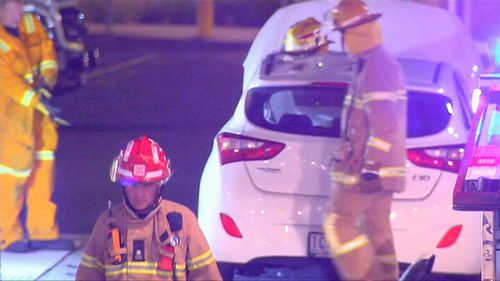 Emergency services were called in and firefighters had to work to free a female passenger. (9NEWS)