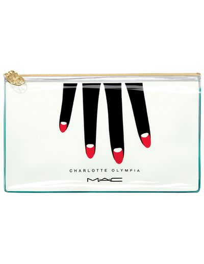 """<a href=""""https://www.maccosmetics.com.au/product/13812/40510/Products/Brushes-Tools/Tools/Bags/Makeup-Bag-Charlotte-Olympia"""" target=""""_blank"""">M.A.C Charlotte Olympia - Makeup Bag, $46.</a>"""