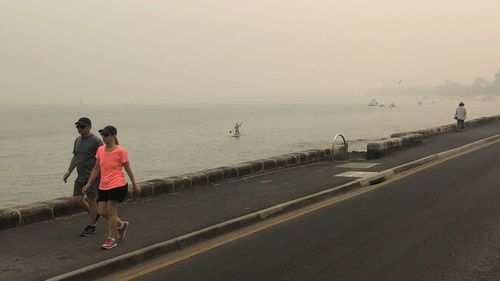 Smoke haze from bushfires is seen at Frankston Beach in Melbourne, Friday, January 3, 2020