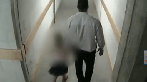 Mohammad Al Bayati was caught on CCTV holding the hand of the girl as he led her away from a playground in DFO at Homebush in December 2016.