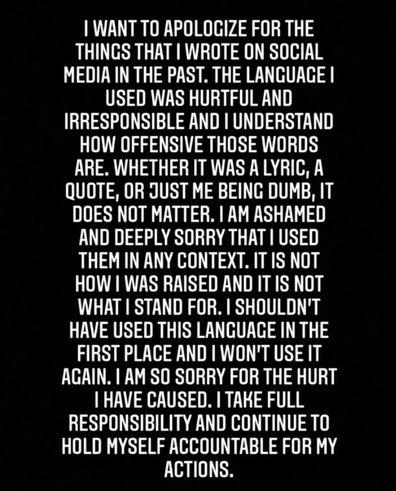 Billie Eilish's boyfriend Matthew Tyler Vorce apologises for his past racist and homophobic posts.