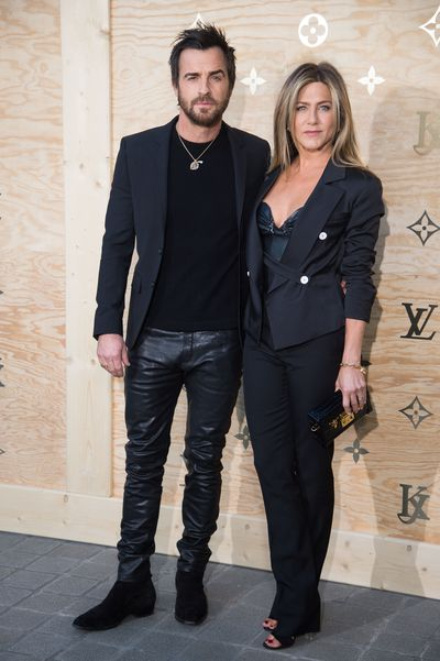 <p>Jennifer Aniston and Justin Theroux in April 2017 at the launch of Louis Vuitton X Jeff Koons in Paris.</p>