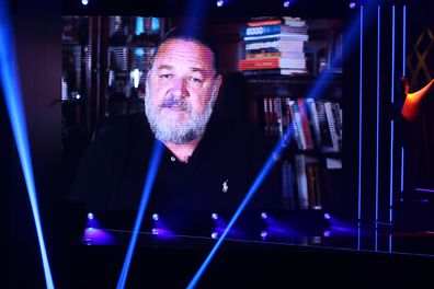 Russell Crowe speaks via video link during the 2020 AACTA Awards