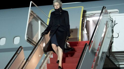 British Prime Minister Theresa May arrives in the US. (AAP)
