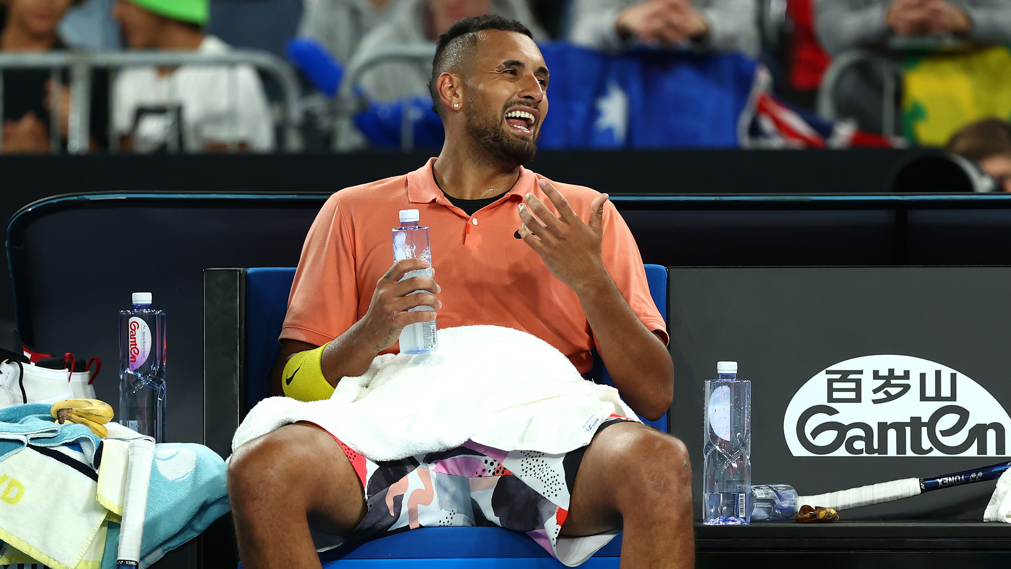 Nick Kyrgios progresses to third round after lesson in self-destruction