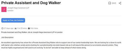 Law firm offers $58,000 for dog walking role