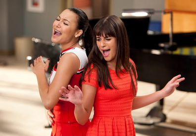 Naya Rivera, Lea Michele, filming, Glee