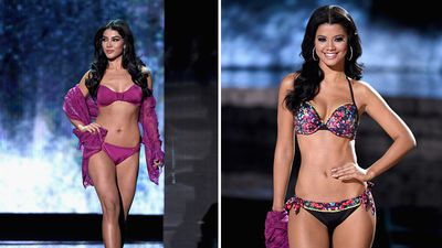 Miss Mexico Wendy Esparza andMiss Curacao Kanisha Sluis in the swimsuit competition. (AAP)