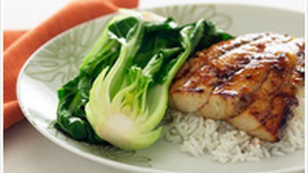 Glazed ginger fish with baby bok choy