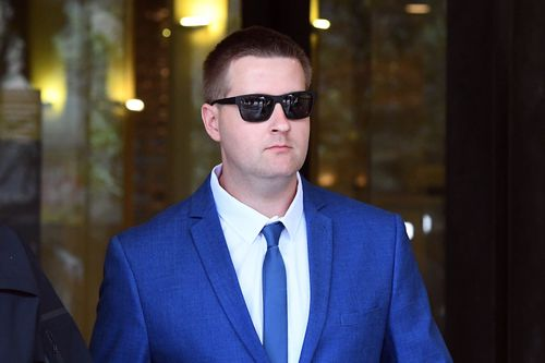 Senior Constable Andrew Bruce was charged in April with failing to get convicted sex offender Anthony Sampieri off the streets before he allegedly raped a young girl in a Kogarah dance studio.