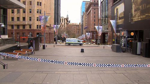 Parts of Sydney's CBD were a ghost town today, with only emergency services allowed inside. Picture: 9NEWS