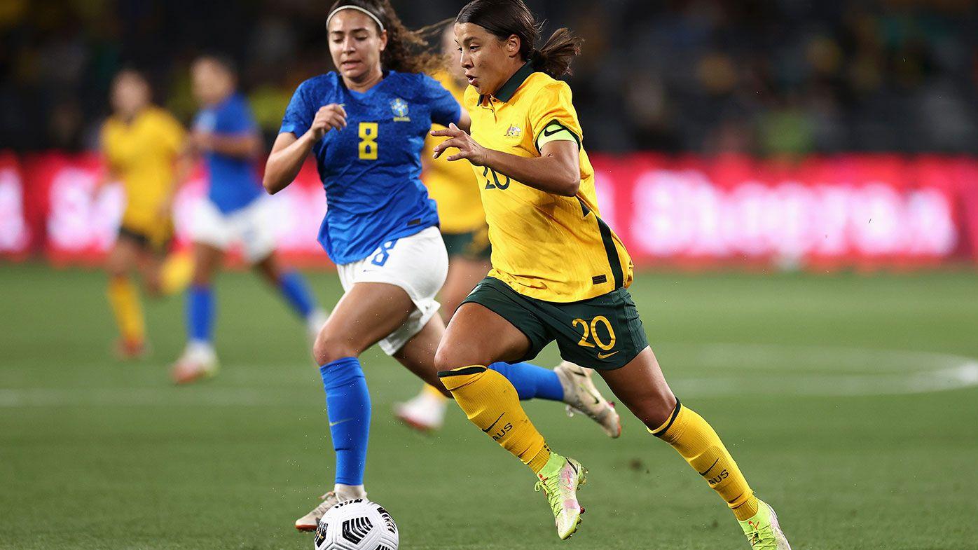 Sam Kerr of the Matildas dribbles the ball during the Women's International Friendly match between the Australia Matildas and Brazil