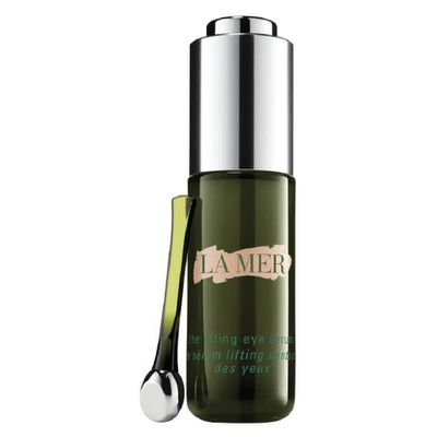 """<a href=""""http://www.cremedelamer.com.au/product/9087/39441/eye-treatments/the-lifting-eye-serum/visibly-lifts-and-firms"""" target=""""_blank"""">La Mer The Lifting Eye Serum, $330.</a>"""