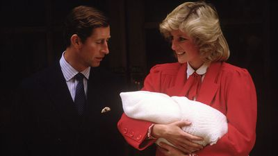 Princess Diana and Prince Charles with baby Harry, 1984