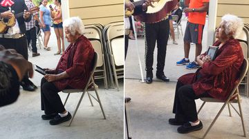 Texas woman Alicia Salas posted a photo of her grandmother's emotional reaction to Twitter. (Twitter/@aliciasalas653)