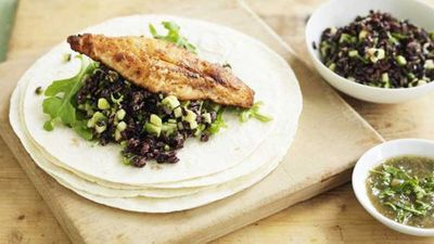 "Recipe:&nbsp;<a href=""http://kitchen.nine.com.au/2016/05/05/14/30/fish-tortilla-with-avocado-rice-and-rocket"" target=""_top"" draggable=""false"">Fish tortilla with avocado rice and rocket</a>"