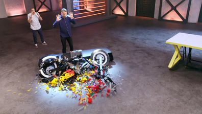 Hamish Blake smashes a LEGO motorbike on LEGO Masters 2020