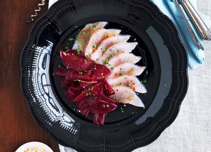 Sashimi of mulloway with beetroot pickle