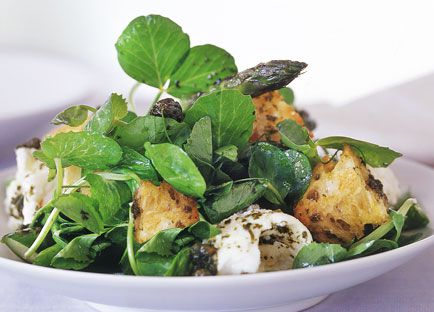 Char-grilled asparagus and mozzarella salad with warm caper vinaigrette