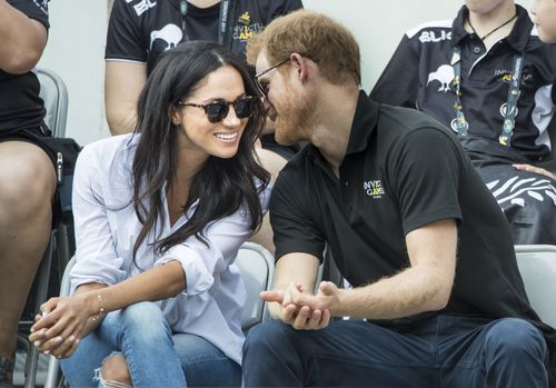 Prince Harry and Meghan Markle watching Wheelchair Tennis at the 2017 Invictus Games in Toronto. (AAP)
