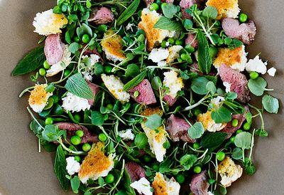 """Recipe: <a href=""""/recipes/ilamb/9046750/warm-grilled-lamb-pea-mint-and-feta-torn-herb-bread-salad"""" target=""""_top"""">Warm grilled lamb and pea salad</a>"""