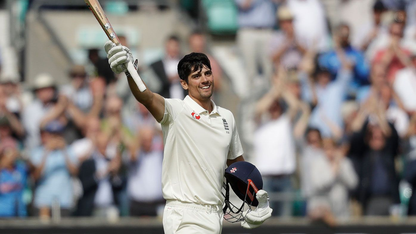 Alastair Cook celebrates after making a hundred in his final Test innings