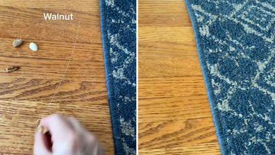 Woman's unusual trick erases scratches in hardwood flooring in seconds