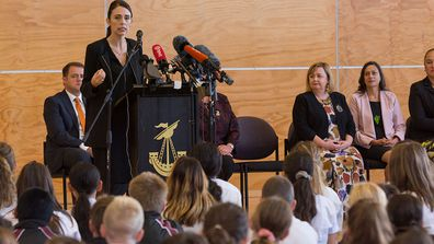 Prime Minister Jacinda Ardern gives speech at a Christchurch high school